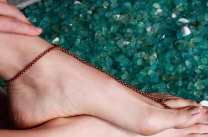 copper toe anklet fine round chain