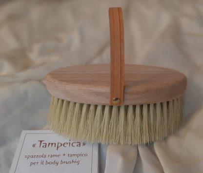 spazzola in rame + tampico per un massaggio linfo-drenante